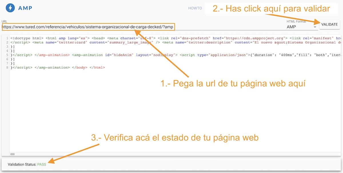 Uso de AMP Validator   Pasillo Digital - SEO - URL Ampliada - Sitemap - Páginas Web - Sistemas Web